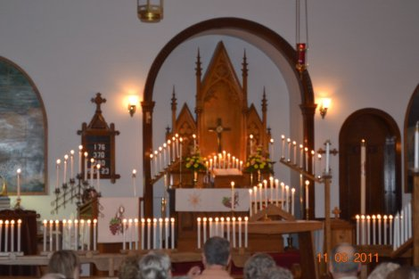 Lighting of the candles during our annual Candlelight Vespers Service to celebrate our departed loved ones.  This service is held the first Sunday in November in conjunction with All Saints Sunday.
